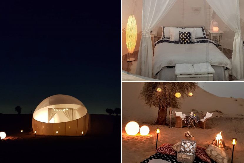 Camp in a crystal roof bubble tent in Dubai