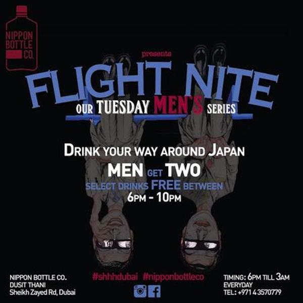 Flight Mens night every Tuesday at Nippon Bottle Co.